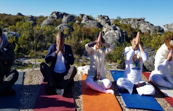 Celebration of the International Day of Yoga-2018 on top of Table Mountain, Cape Town