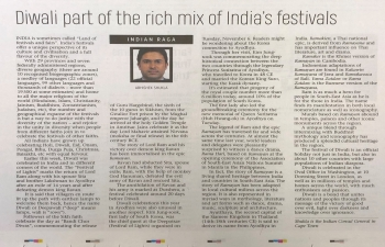 Diwali part of rich mix of India's festivals'- Consul General Abhishek Shukla writes in today's Cape Times about shared cultural heritage in festivals like Diwali