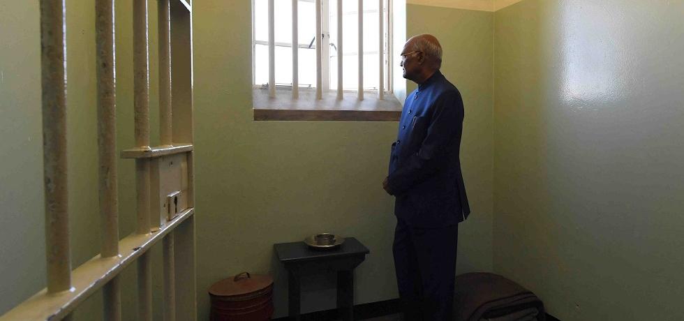 President of India Shri Ram Nath Kovind at Madiba's Cell in Robben Island.