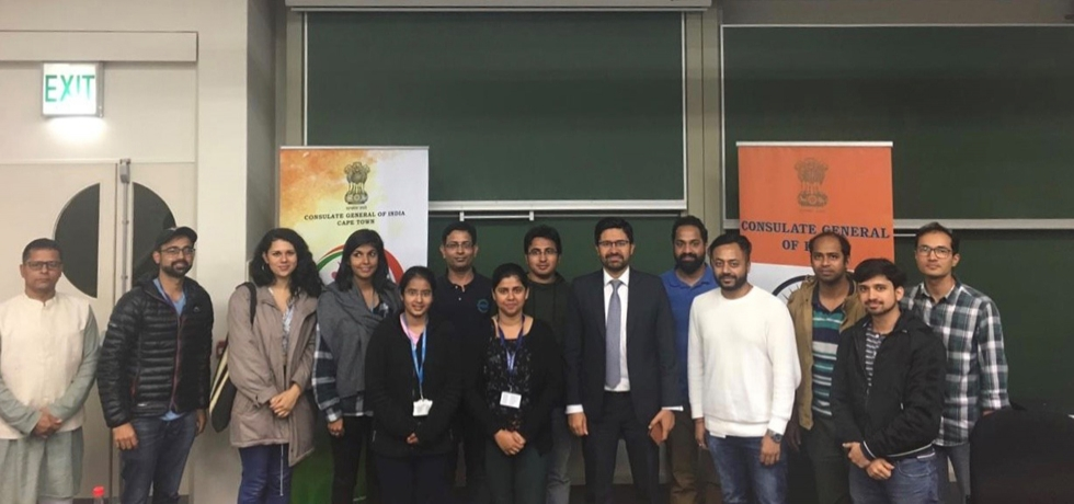 Consul General Abhishek Shukla's interaction with Indian students in the University of Cape Town
