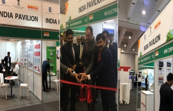 Consul General Abhishek Shukla inaugurating India Pavilion at African Utility Week in CTICC, Cape Town
