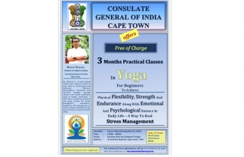 3-months free practical course in Yoga by Consulate General of India, Cape Town