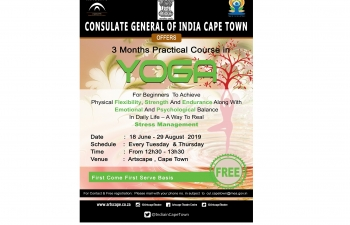 Circular regarding a free 3-months course in Yoga by Consulate's Teacher of Indian Culture, a Yoga Guru from India, in partnership with the Artscape Theatre Centre, Cape Town