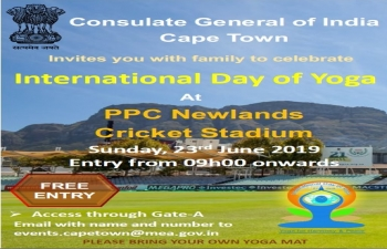 International Day of Yoga celebrations at PPC Newlands Cricket Stadium- Saturday, June 23, 2019