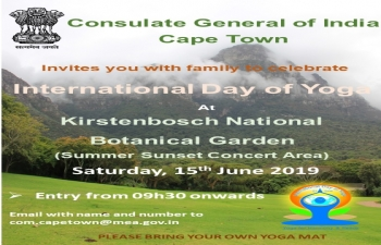 International Day of Yoga-2019 celebrations at Kirstenbosch National Botanical Garden, Cape Town- Saturday, June 15, 2019
