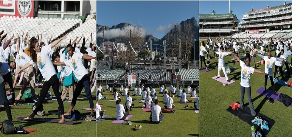 Celebrations of the International Day of Yoga at Newlands Cricket Stadium, Cape Town