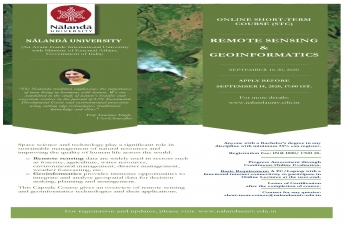 Nalanda University Online Short Term Course on Remote Sensing & Genoinformatics from 16th to 30th September 2020